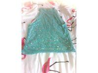 Aquamarine blue vintage beaded sparkly top size 10