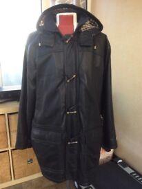 Mans Aquascutum black leather coat