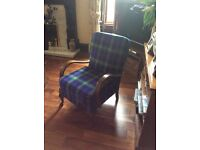 Harris Tweed newly covered antique chair