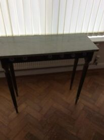 "Old ""Louis style "" hall table with solid marble top decorated with Limoges china"