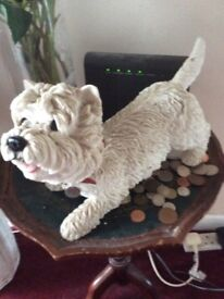 White west highland terrier dog ornament as new buyers to collect cute for dog lovers