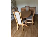 Dining room table, six chairs & Sideboard