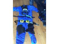Complete set of Scuba Diving equipment for a young adult.