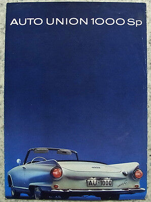 AUTO UNION 1000 SP Car Sales Brochure c1962 #WB 3785 (16-J-122).