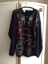 Ladies new large pearl button down cardigan