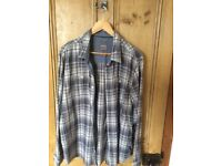 FatFace men's blue and white checked shirt - UK size XL
