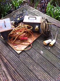 Outside 110 volt extension boxes and leads