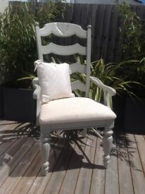 Shabby Chic Chair painted in Farrow & Ball French Grey French country style. Crafting Christmas Gift