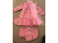 Ralph Lauren baby girls pink dress with matching knickers - size 3 months