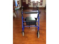 Rollator walker with seat & bag.