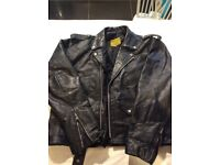 Black leather motorcycle jacket 46 in chest