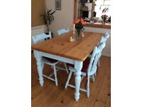 Beautifully restored shabby chic dining table and chairs for sale