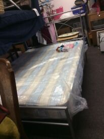 Silver Double bed frame incl mattress