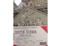 Justin Beiber ticket available Pricipality stadium Cardiff
