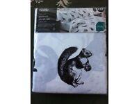 NEW Double duvet set, black & white with animals,deer, squirrel, rabbits, birds