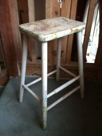 Antique Distressed Bar Stool Craftsman Seat Plant Stand ?/ Can Deliver