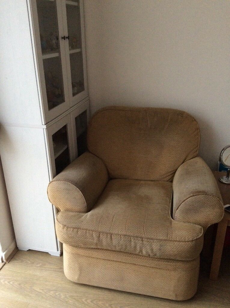 2 free matching Marks and Spencer armchairs. Very comfy, but old. Could be recovered or cleaned.
