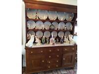 Antique 1820 oak welsh Dresser, with original plates