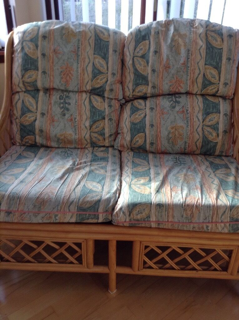 Cane two seater settee green leaf design X 2in Inverurie, AberdeenshireGumtree - Cane two seater sofa x 2. Immaculate condition. None smoking household. Ideal for conservatory or sun room