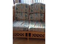 Cane two seater settee green leaf design X 2