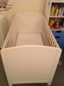 Mothercare white cot bed to toddler bed with mattress