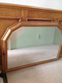 Antique Pine Frame Bevelled Mirror