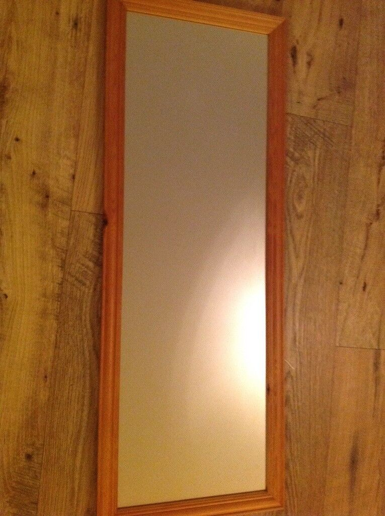Wall mounted pine mirror