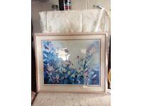 Wooden framed floral picture
