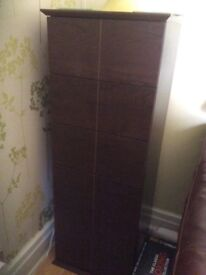 DVD CABINET IN DARK OAK WITH 6 draws,height 37.5 inches x 13 inches wide