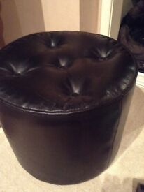 Black leather foot stool