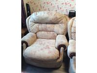 Fabric sofa suite (2x armchairs & 1 two seater sofa). Cheap, quick sell and pick up only.
