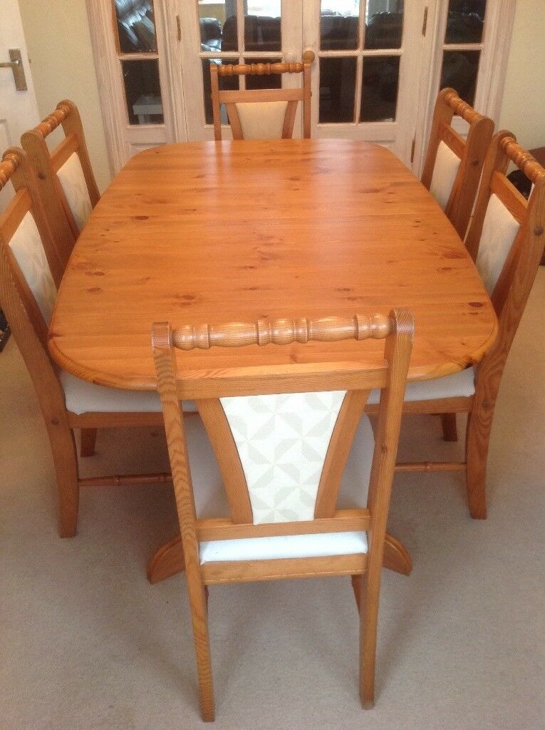 Extending Dining Table And 6 Chairs Solid Pine