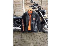 H. D leather jacket med