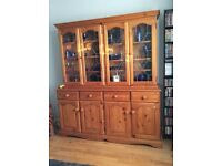 Beautiful six foot solid pine dresser with leaded glass unit