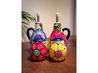 Delrio Salado hand painted ceramic cruet set