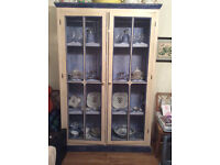 Vintage Spanish china cabinet in blue and white painted wood with mesh doors