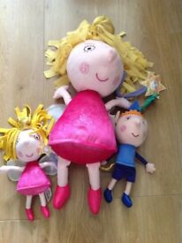 A collection of interactive Ben and Holly, Charlie and Lola Dolls