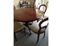 Italian circular dining table and 4 chairs