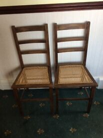 A Pair of Small Bedroom Chairs with Cane Seats. Over 100 yrs old