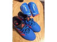 Boys adidas football boots uk1 and shin pads