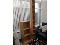 Dvd storage unit £5 and shelf unit £10 in beech effect wood.
