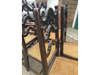 6 Beautiful Antique Solid Oak Dining Chairs (table available separately) - Genuine Antique