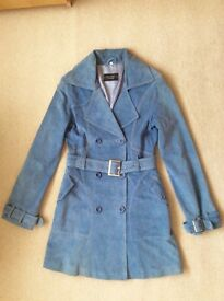 FAB LADIES LIGHT BLUE LINED SUEDE COAT by JEFF BANKS - SIZE 10