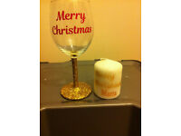 wine glass glitter christmas hamper personalised candle gift hamper