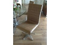 DWELL RIPPLE SWIVEL DINING CHAIRS TAN ***CURRENT STOCK ITEM***