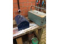 Two metal toolboxes,12x8x7 tall ,and cantilevered box 17x81/2x8 tall,
