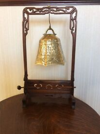 A Chinese Dinner Gong, Carve Oak Stand with Hammer & Brass Engraved Bell.
