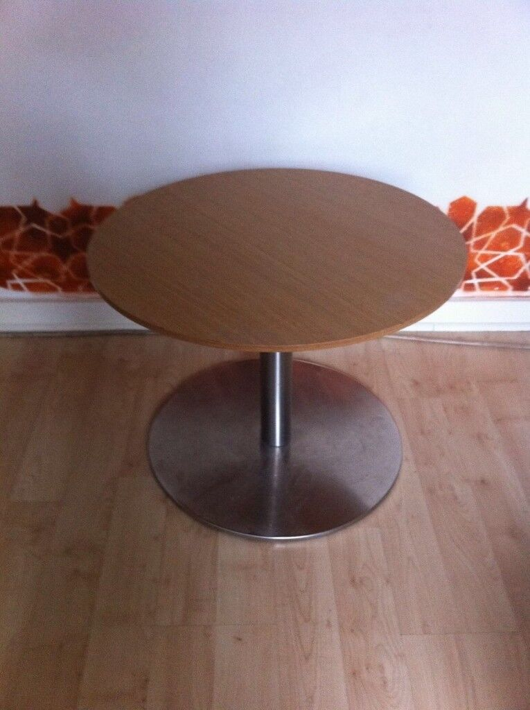 Small Beech Effect Coffee Table With Chrome Base