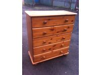 Solid pine five drawer chest