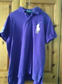 A Purple/Mauvre Mens Large Polo Shirt with Wimbledon Logo on the Sleeve